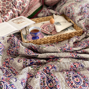 Hand Block Printed Quilt - Paisley Pink