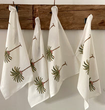Load image into Gallery viewer, Pretty green and white palm tree hand block printed tea towels for a boho look