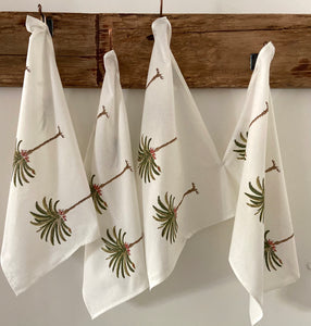 Pretty green and white palm tree hand block printed tea towels for a boho look