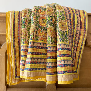 Beautiful boho sunflower reversible quilt