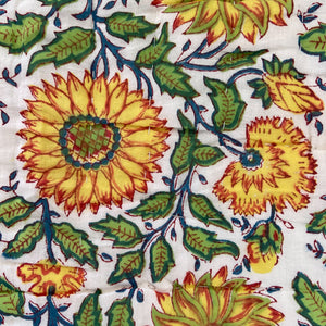 Hand Block Printed Quilt - Sunflower