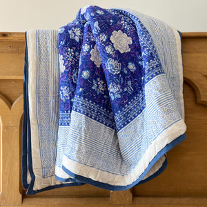 Hand Block Printed Quilt - Beautiful Blue