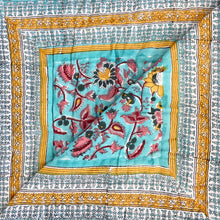 Load image into Gallery viewer, Hand Block Printed Quilt - Floral Jade More images to follow