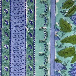 Hand Block Printed Table Cloth - Surajmukhi Blue