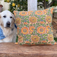 Load image into Gallery viewer, Hand Block Printed Cushion Cover - Sunflower