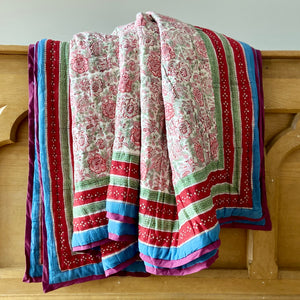 Hand Block Printed Quilt - Cornflower Pinks