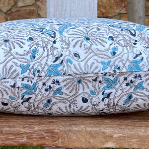 Hand Block Printed Cushion Cover - Passion Flower