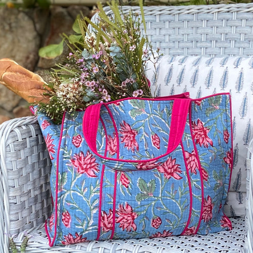Hand Block Printed Quilted Tote Bag - Cornflower Blue