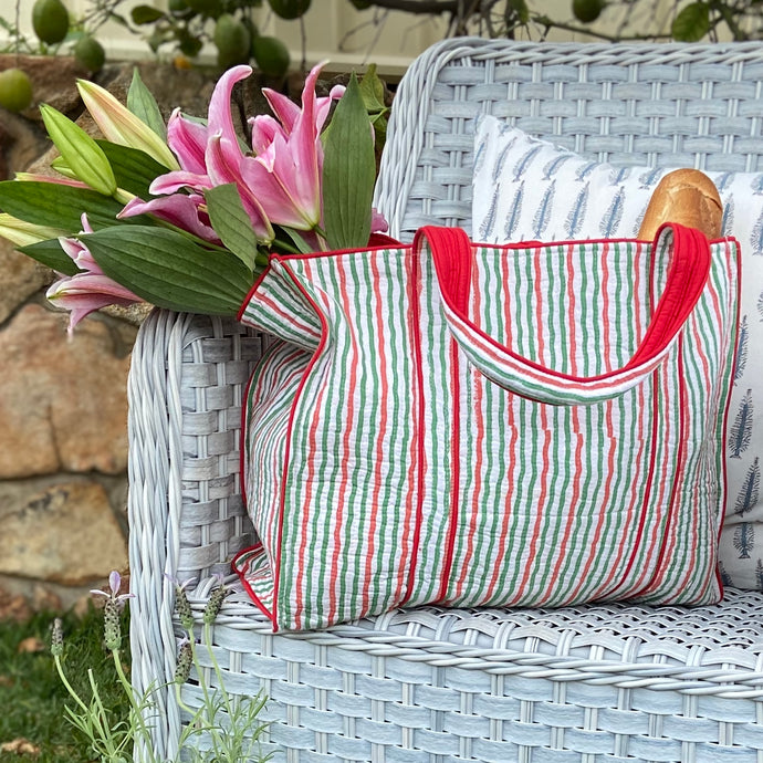 Pretty striped soft red and green and white pure cotton, lightly quilted hand block printed tote bag