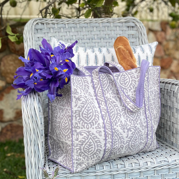 Soft, delicate, mauve and grey, hand block printed, lightly quilted cotton tote bag