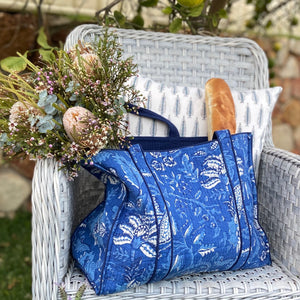 Hand Block Printed Quilted Tote Bag - Anarkali Blue