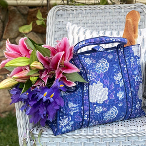 Beautiful vibrant blue and white quilted tote bag