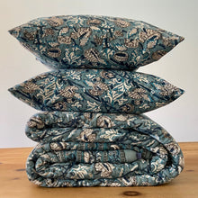 Load image into Gallery viewer, Hand Block Printed Quilt Set - Amarnath Grey