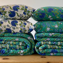 Load image into Gallery viewer, Hand Block Printed Cushion Covers - Sea Green Open