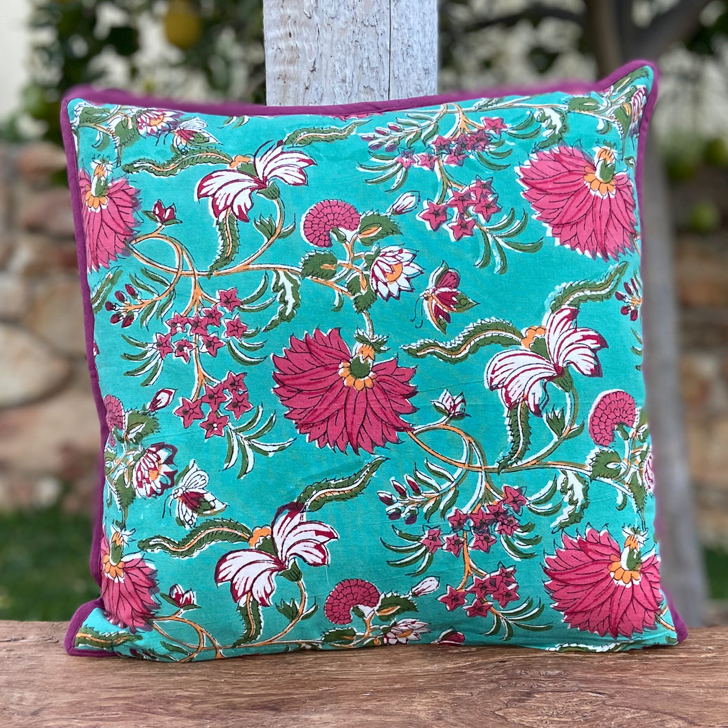 Hand Block Printed Cushion Cover - Flower Blossom Jade