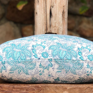 Hand Block Printed Cushion Cover - Aqua Lotus