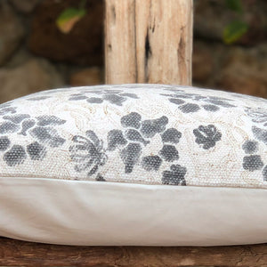 Hand Block Printed Cushion Cover - Grey Floral
