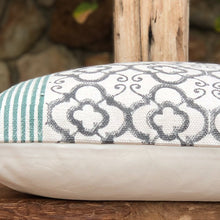 Load image into Gallery viewer, Hand Block Printed Cushion Cover - Green Stripe