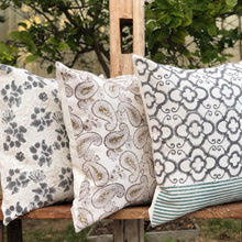Load image into Gallery viewer, Hand Block Printed Cushion Cover - Grey Floral