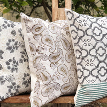 Load image into Gallery viewer, Hand Block Printed Cushion Cover - Sage Paisley