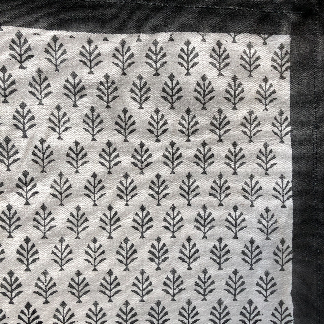 Hand Block Printed Table Runner - Neem Grey Patti