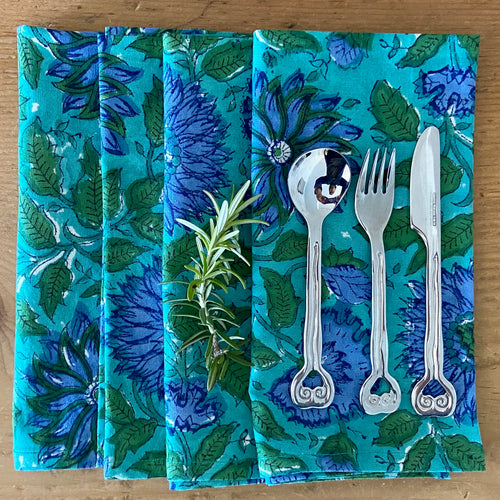 Block Printed Napkins - Surajmukhi Blue - Set of 4