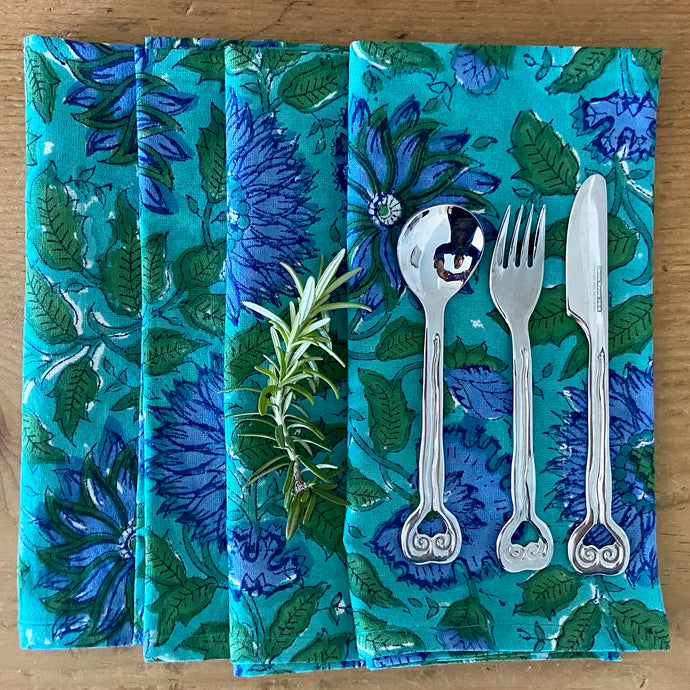 Beautiful vibrant blue set of 4 napkins