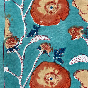 Hand Block Printed Table Cloth - Teal Flower