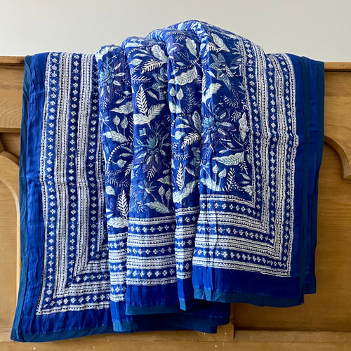 Beautiful deep blue and white reversible soft cotton filled hand block printed cotton king size quilt