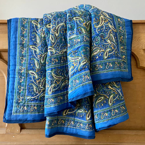 Lovely ink blue and gold soft cotton reversible fair trade soft cotton filled hand block printed quilt in queen size