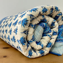 Load image into Gallery viewer, Hand Block Printed Quilt - Bluebell