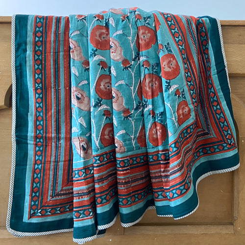 Hand Block Printed Dohar - Teal Flower