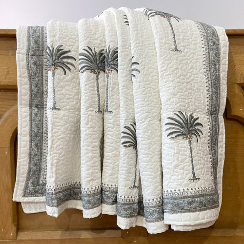palm tree grey quilted bed cover set