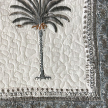 Load image into Gallery viewer, Hand Block Printed Quilted Bed Cover Set - Palm Tree Grey