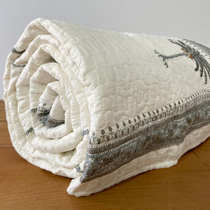 Hand Block Printed Quilted Bed Cover Set - Palm Tree Grey