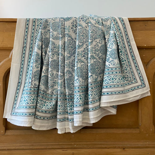 Hand Block Printed Bed Cover Set - Crown Paisley