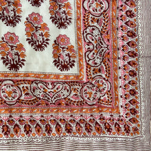 Load image into Gallery viewer, Hand Block Printed Quilt - Big Paisley Pink/Orange