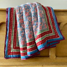 Load image into Gallery viewer, Pure cotton reversible fairtrade hand block printed soft cotton filled quilt in lovely pink and blue floral design. Corntflower pinks in king, twin and cot sizes