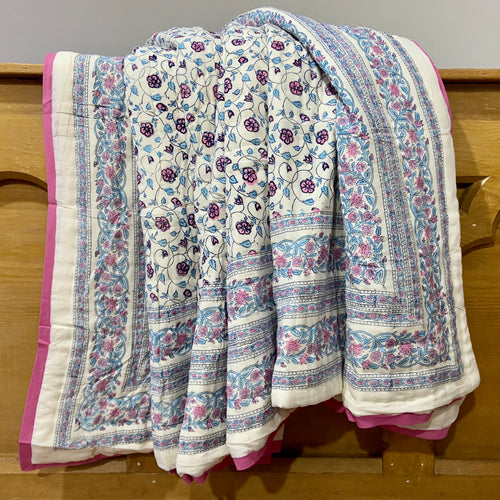 Hand Block Printed Quilt - Floral Kali Pink