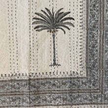 Load image into Gallery viewer, Hand Block Printed Kantha - Palm Tree Grey