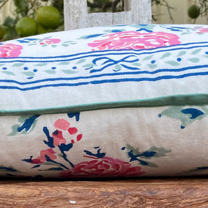 Hand Block Printed Cushion Cover - Rose Garden