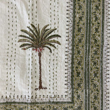Load image into Gallery viewer, Hand Block Printed Kantha - Palm Tree Green