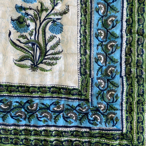 Hand Block Printed Quilt - Pan Leaf Blue