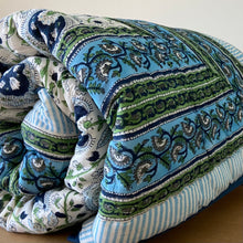 Load image into Gallery viewer, Hand Block Printed Quilt - Pan Leaf Blue