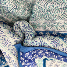 Load image into Gallery viewer, Hand Block Printed Quilt - Kalamkari Blue