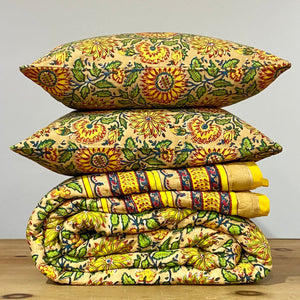 Hand Block Printed Cushion Cover - Sunflower