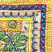 Load image into Gallery viewer, Hand Block Printed Quilt - Sunflower
