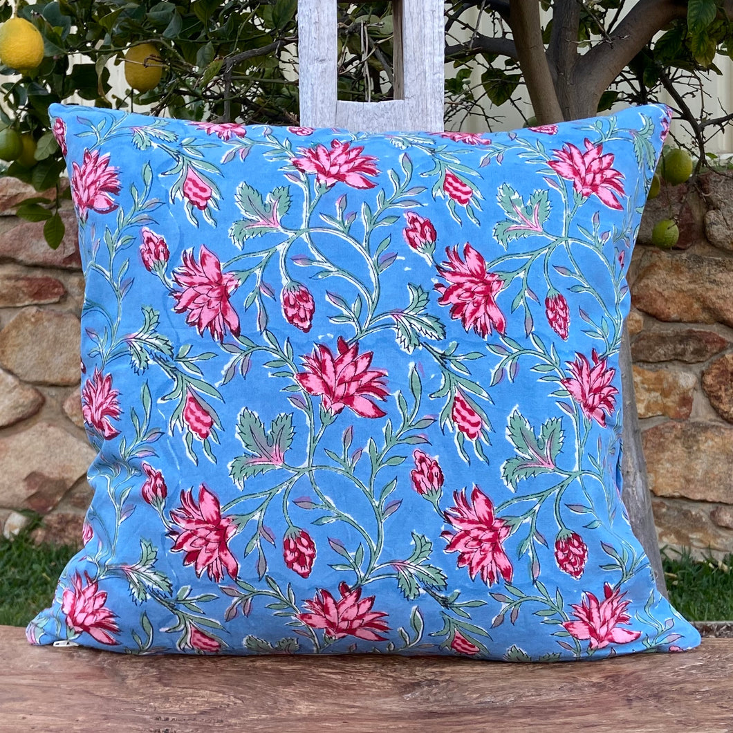 Hand Block Printed Cushion Cover - Cornflower Blue