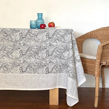 Load image into Gallery viewer, Hand Block Printed Tablecloth - Grey Abstract