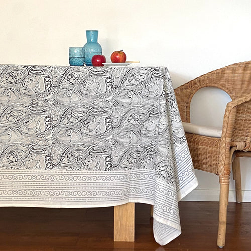 Hand Block Printed Tablecloth - Grey Abstract